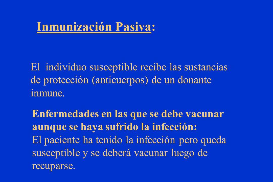 Inmunización Pasiva: El individuo susceptible recibe las sustancias
