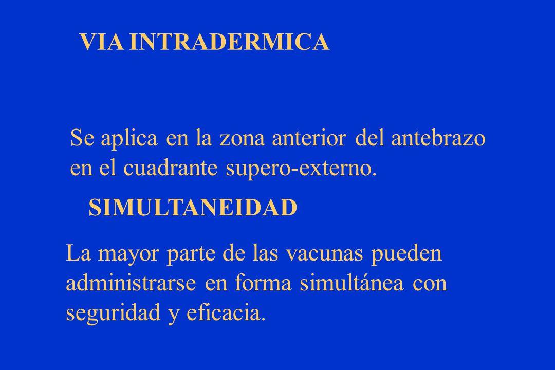 VIA INTRADERMICA Se aplica en la zona anterior del antebrazo. en el cuadrante supero-externo. SIMULTANEIDAD.