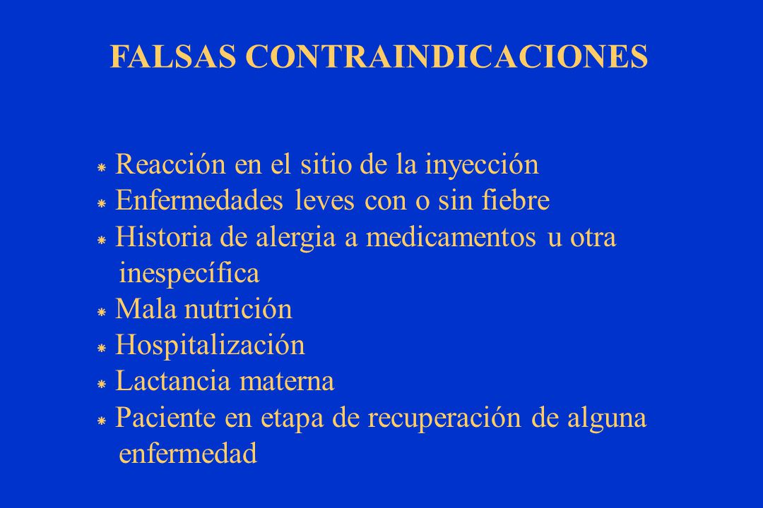 FALSAS CONTRAINDICACIONES