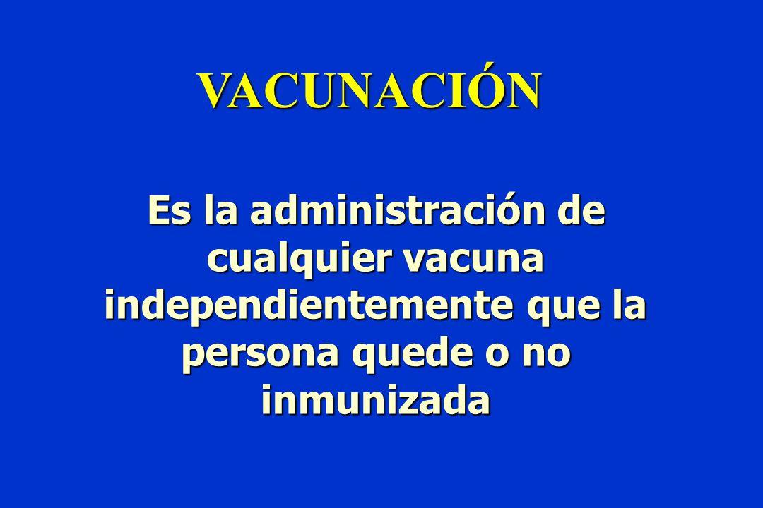 VACUNACIÓN Es la administración de cualquier vacuna independientemente que la persona quede o no inmunizada.