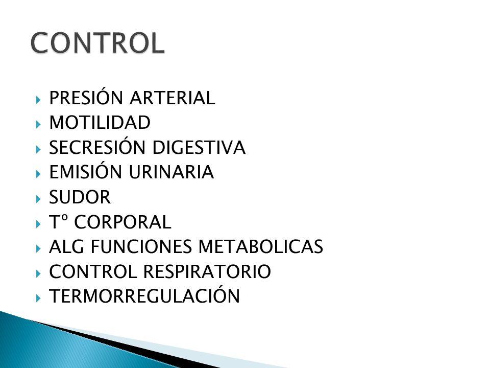 CONTROL PRESIÓN ARTERIAL MOTILIDAD SECRESIÓN DIGESTIVA