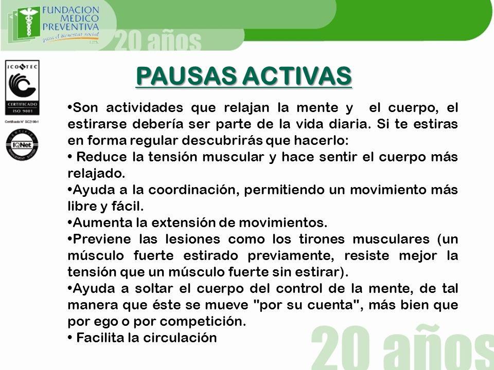 PAUSAS ACTIVAS .