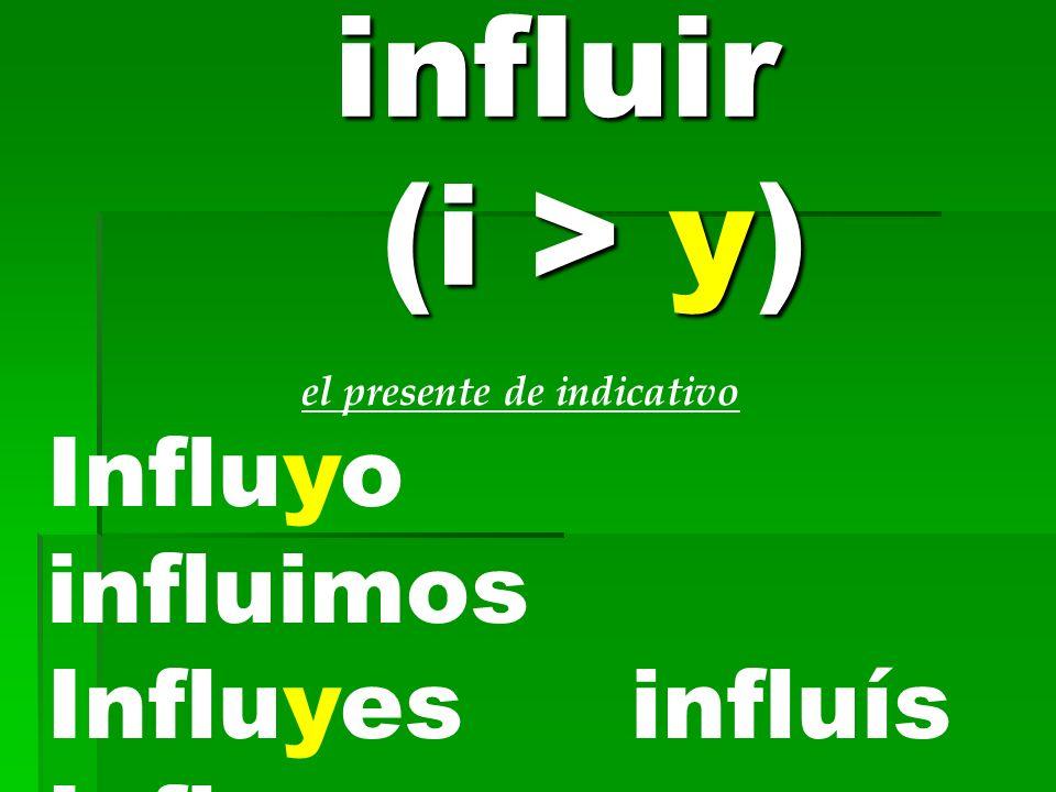influir (i > y) Influyo influimos Influyes influís Influye influyen