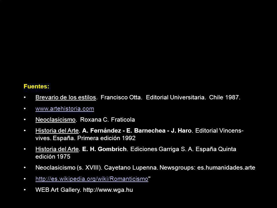 Fuentes: Brevario de los estilos. Francisco Otta. Editorial Universitaria. Chile 1987. www.artehistoria.com.