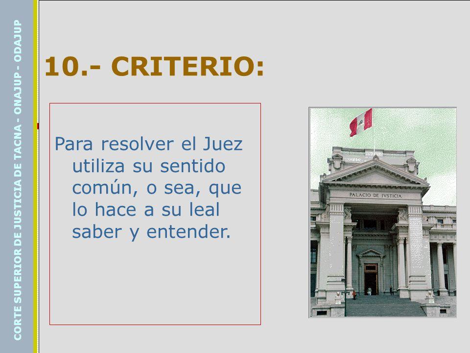 10.- CRITERIO: Para resolver el Juez utiliza su sentido común, o sea, que lo hace a su leal saber y entender.