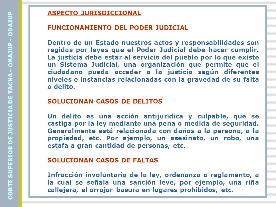 ASPECTO JURISDICCIONAL FUNCIONAMIENTO DEL PODER JUDICIAL