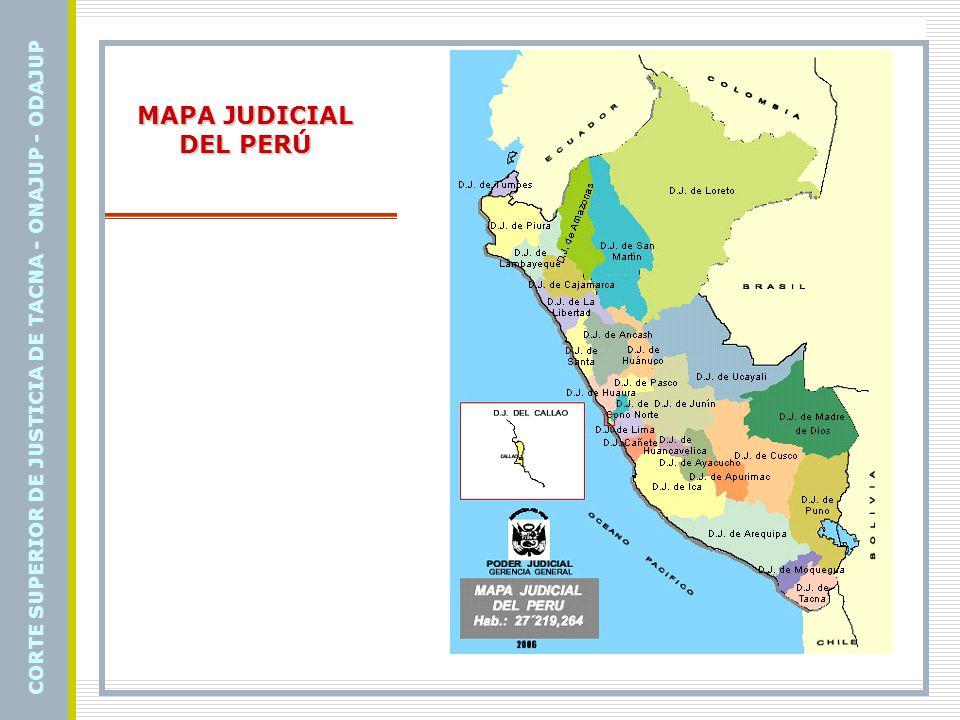 MAPA JUDICIAL DEL PERÚ CORTE SUPERIOR DE JUSTICIA DE TACNA - ONAJUP - ODAJUP
