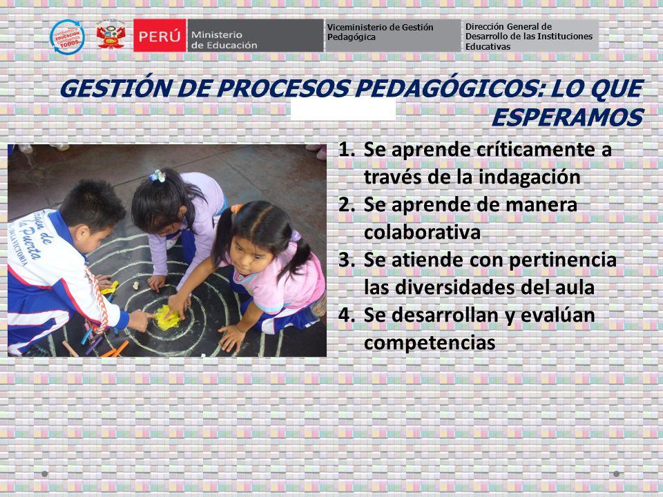GESTIÓN DE Procesos pedagógicos: Lo que esperamos