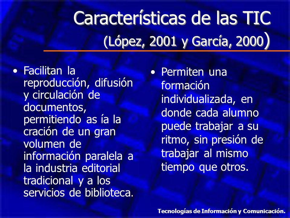Características de las TIC (López, 2001 y García, 2000)