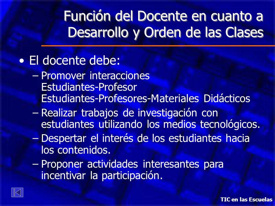 Función del Docente en cuanto a Desarrollo y Orden de las Clases