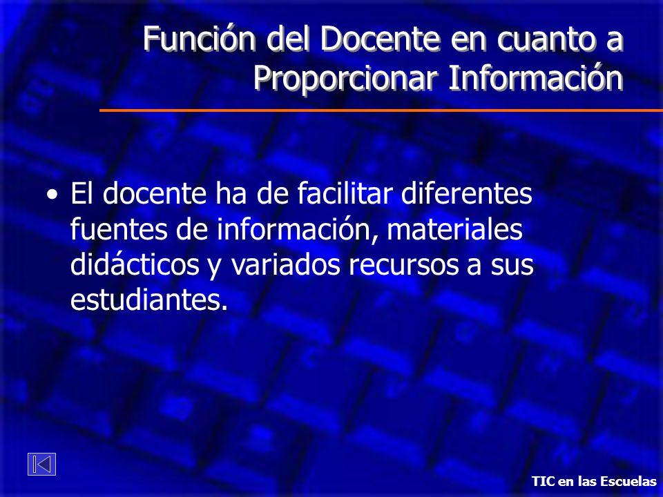 Función del Docente en cuanto a Proporcionar Información