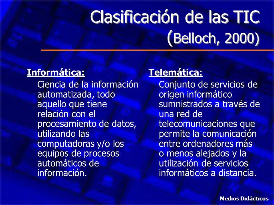Clasificación de las TIC (Belloch, 2000)