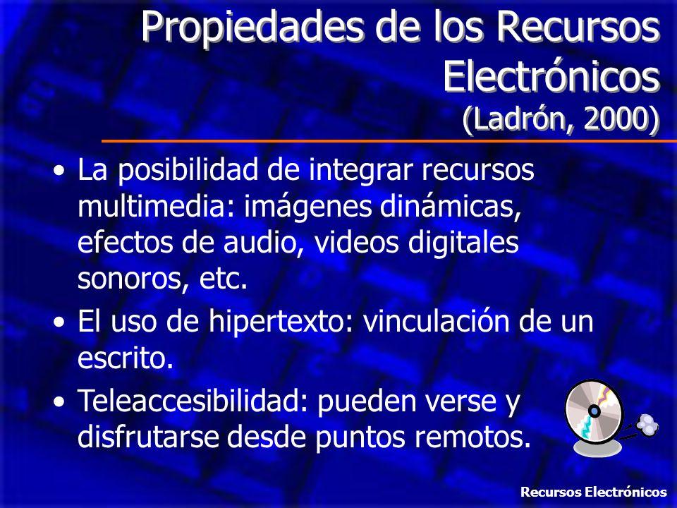 Propiedades de los Recursos Electrónicos (Ladrón, 2000)