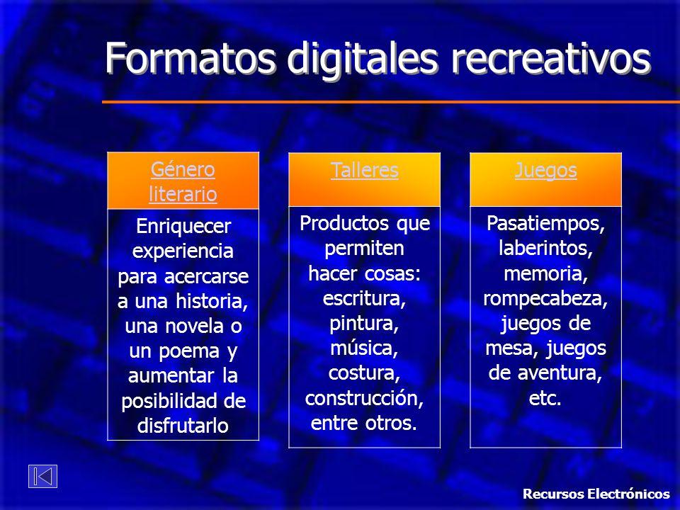 Formatos digitales recreativos
