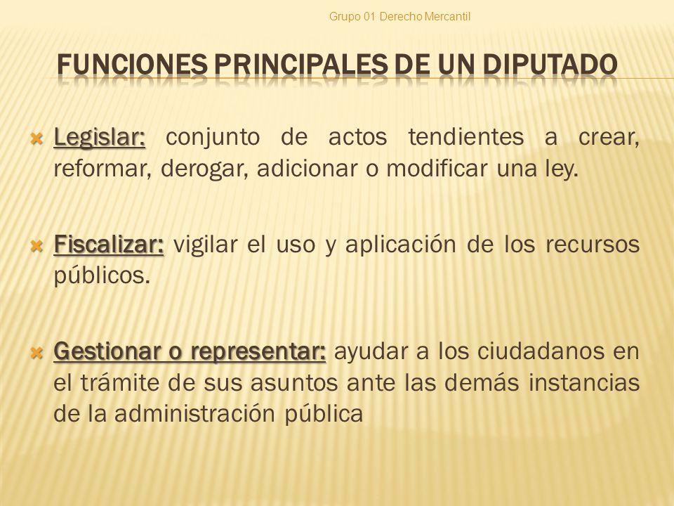 FUNCIONES PRINCIPALES DE UN DIPUTADO