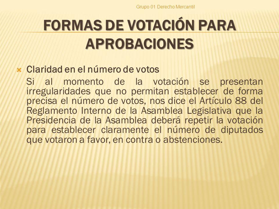 FORMAS DE VOTACIÓN PARA APROBACIONES