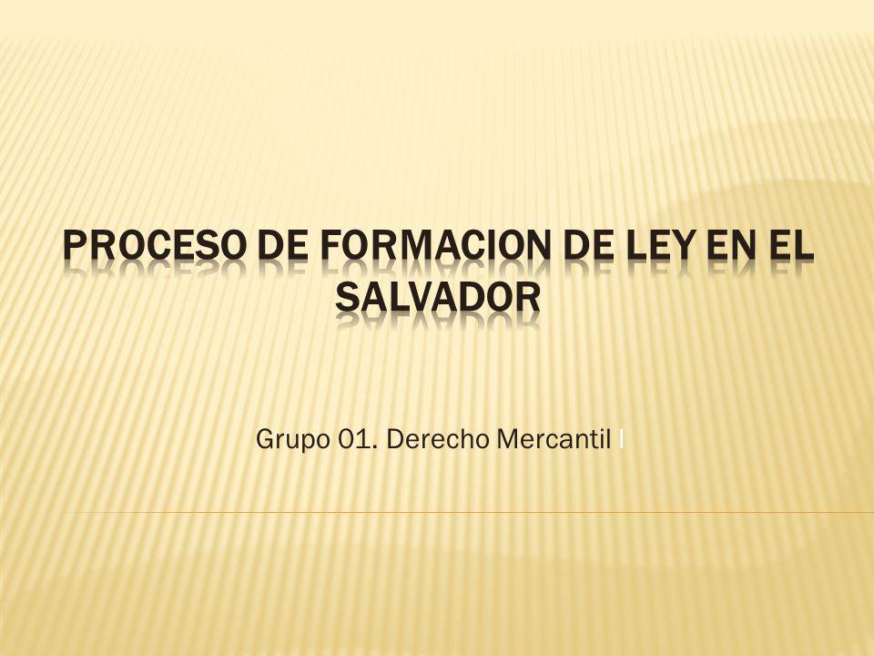 PROCESO DE FORMACION DE LEY EN EL SALVADOR
