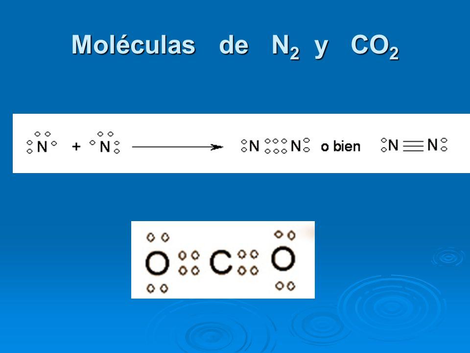 Moléculas de N2 y CO2