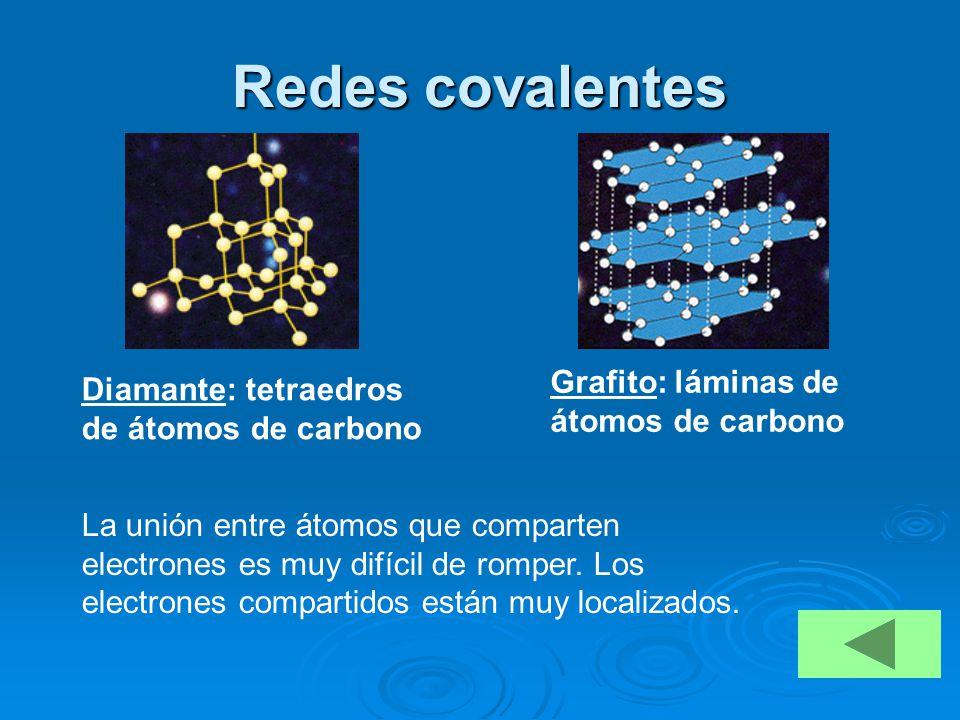 Redes covalentes Grafito: láminas de átomos de carbono
