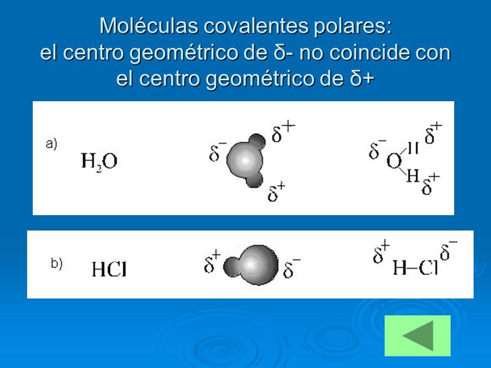 Moléculas covalentes polares: el centro geométrico de δ- no coincide con el centro geométrico de δ+