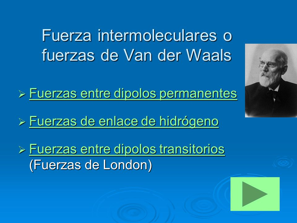 Fuerza intermoleculares o fuerzas de Van der Waals