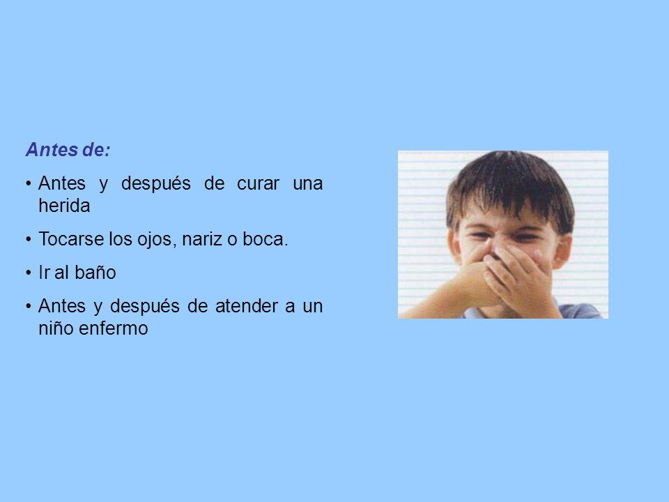 Antes de: Antes y después de curar una herida. Tocarse los ojos, nariz o boca.