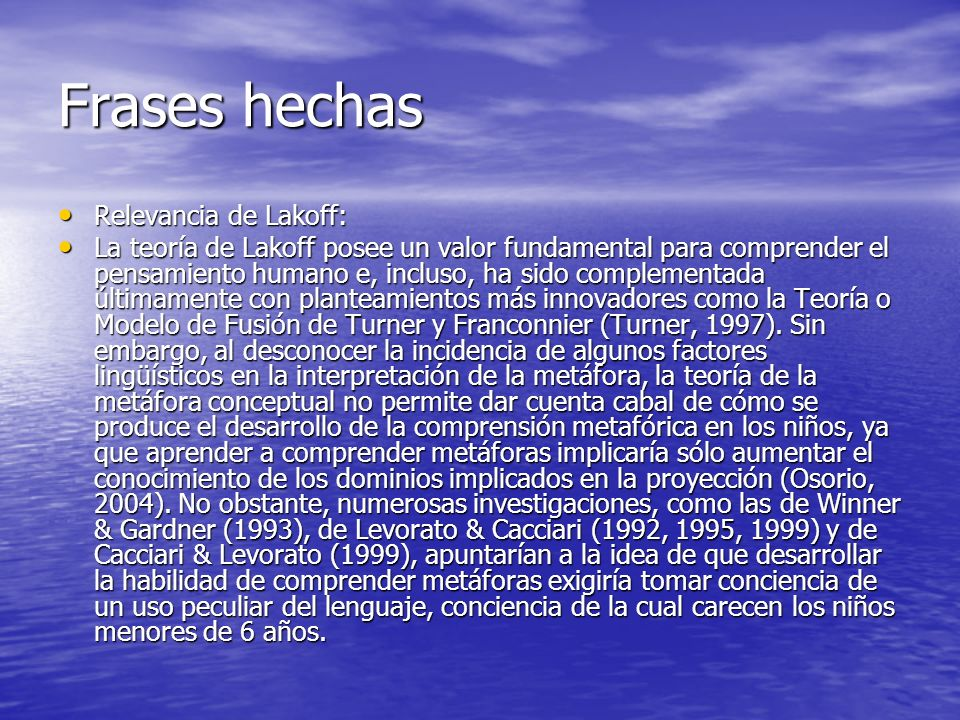 Frases hechas Relevancia de Lakoff: