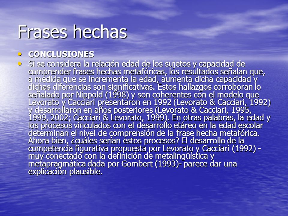 Frases hechas CONCLUSIONES