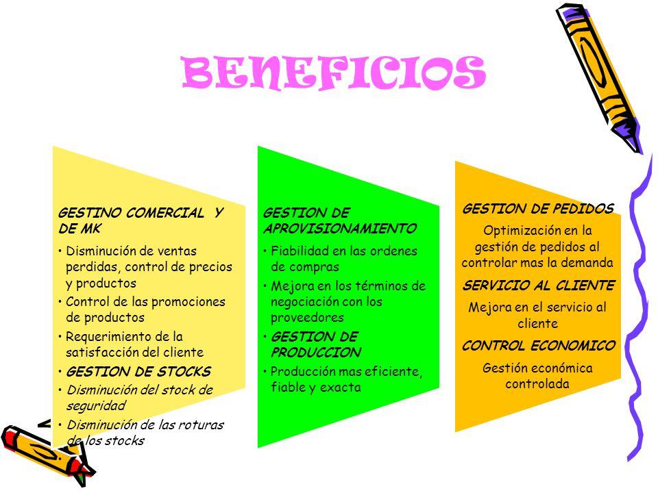 BENEFICIOS GESTINO COMERCIAL Y DE MK