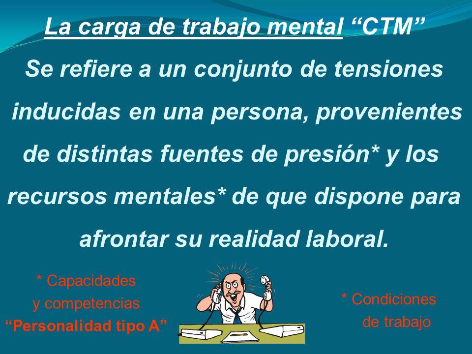 La carga de trabajo mental CTM Se refiere a un conjunto de tensiones