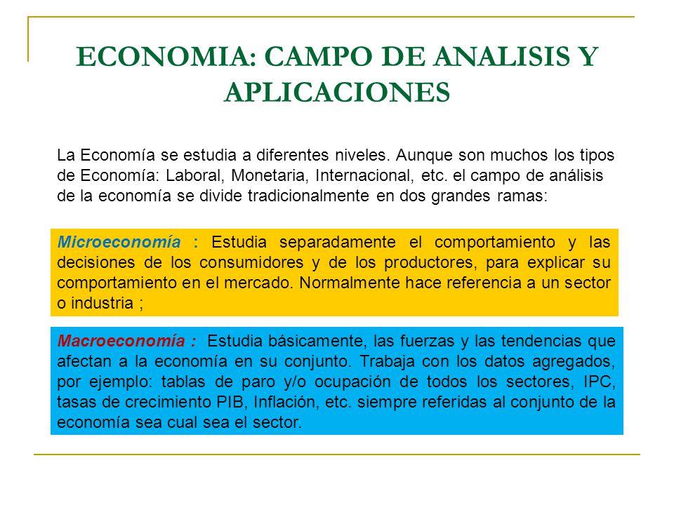 ECONOMIA: CAMPO DE ANALISIS Y APLICACIONES