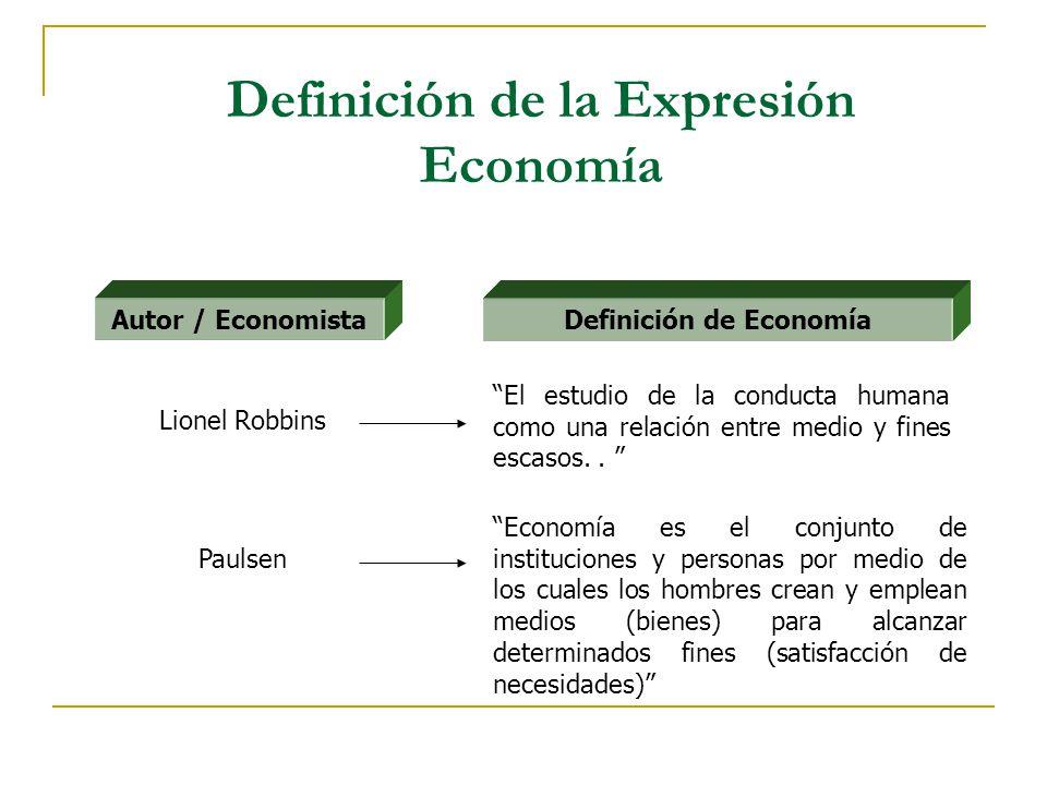 Definición de la Expresión Economía Definición de Economía