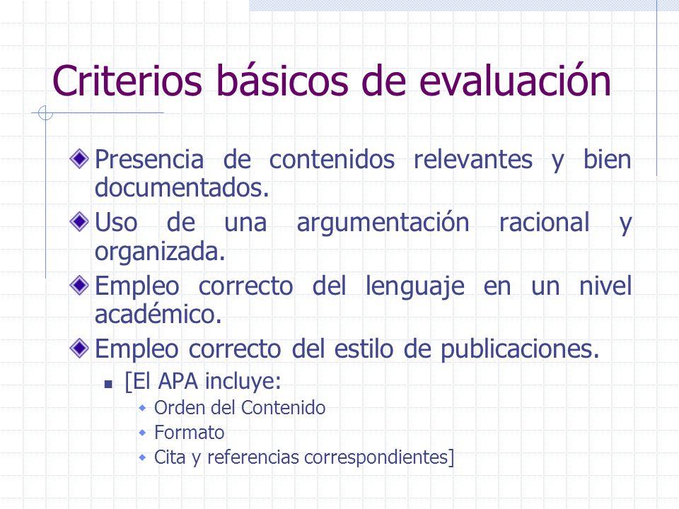 Criterios básicos de evaluación