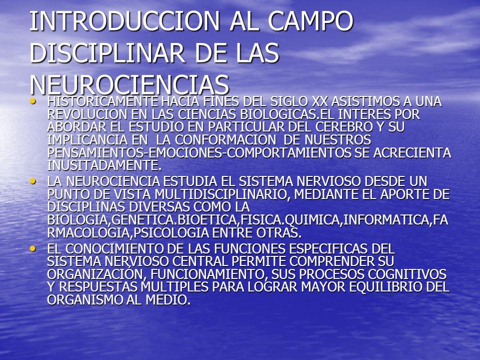INTRODUCCION AL CAMPO DISCIPLINAR DE LAS NEUROCIENCIAS