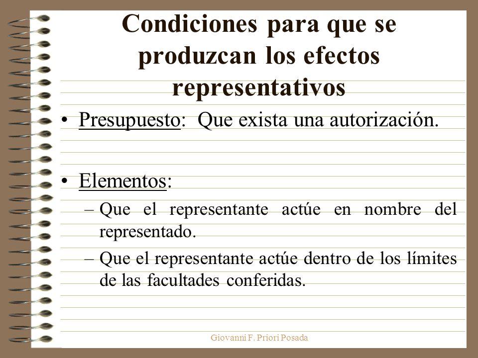 Condiciones para que se produzcan los efectos representativos