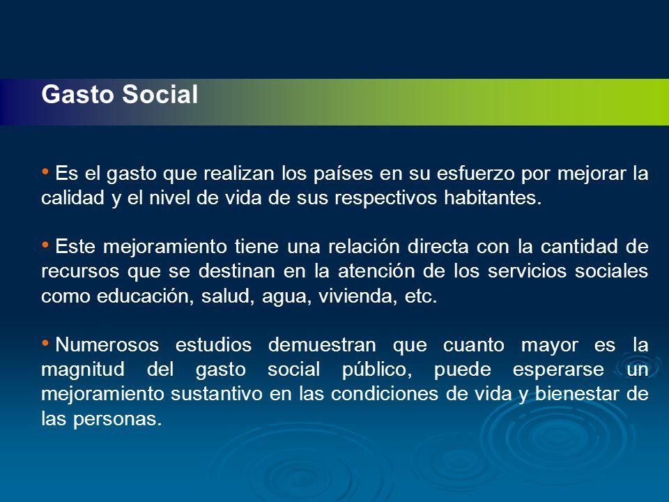 Gasto Social Es el gasto que realizan los países en su esfuerzo por mejorar la calidad y el nivel de vida de sus respectivos habitantes.