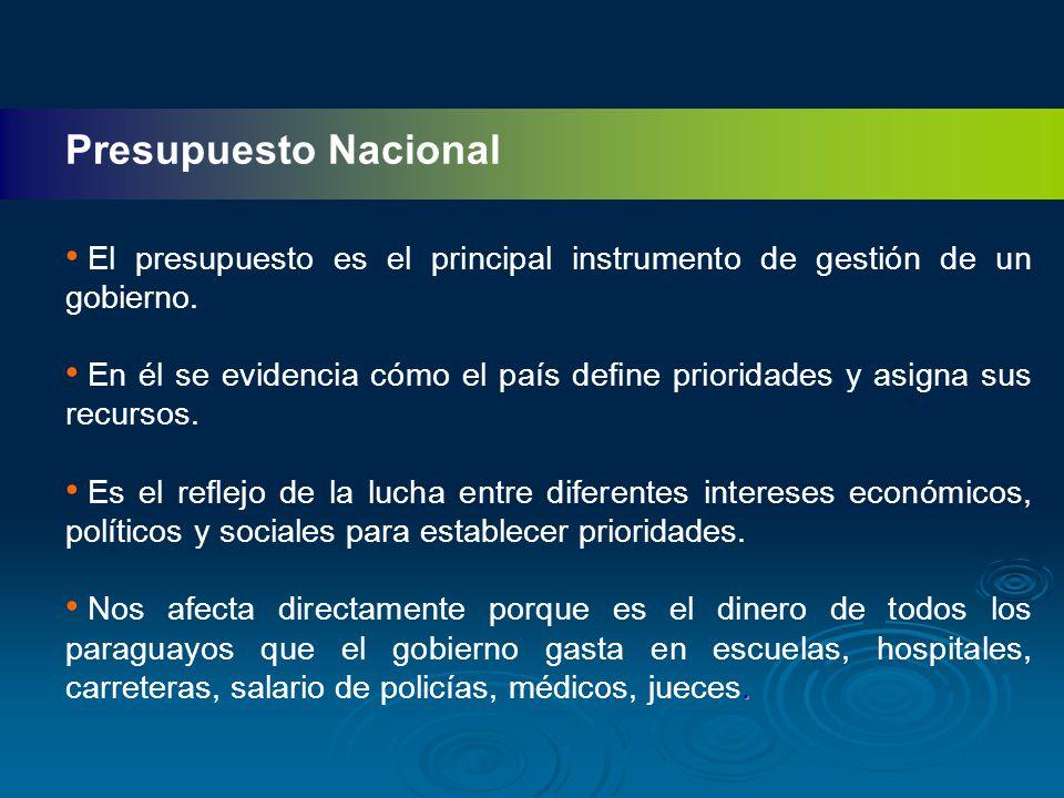Presupuesto Nacional El presupuesto es el principal instrumento de gestión de un gobierno.