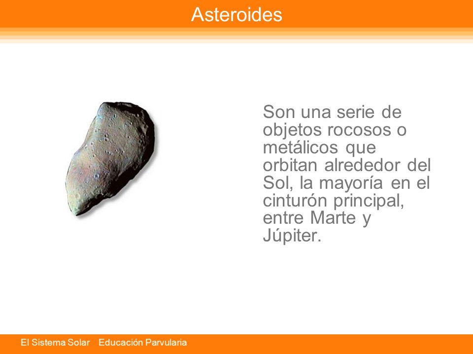 Asteroides Son una serie de objetos rocosos o metálicos que orbitan alrededor del Sol, la mayoría en el cinturón principal, entre Marte y Júpiter.
