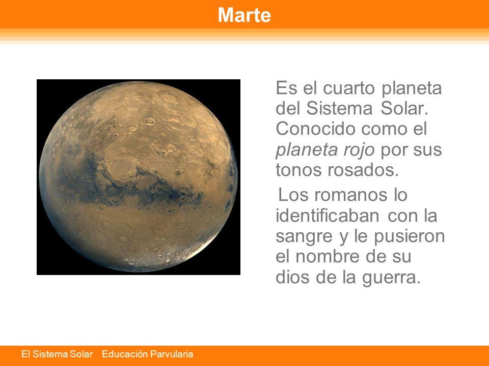 Marte Es el cuarto planeta del Sistema Solar. Conocido como el planeta rojo por sus tonos rosados.