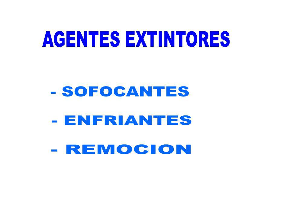AGENTES EXTINTORES - SOFOCANTES - ENFRIANTES - REMOCION