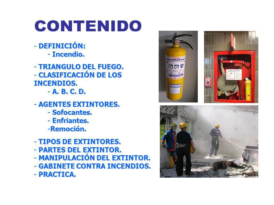CONTENIDO DEFINICIÓN: Incendio. TRIANGULO DEL FUEGO.