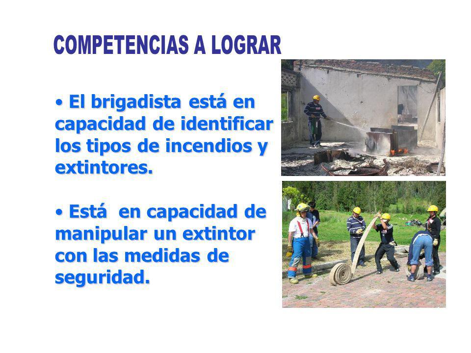 COMPETENCIAS A LOGRAR El brigadista está en capacidad de identificar los tipos de incendios y extintores.