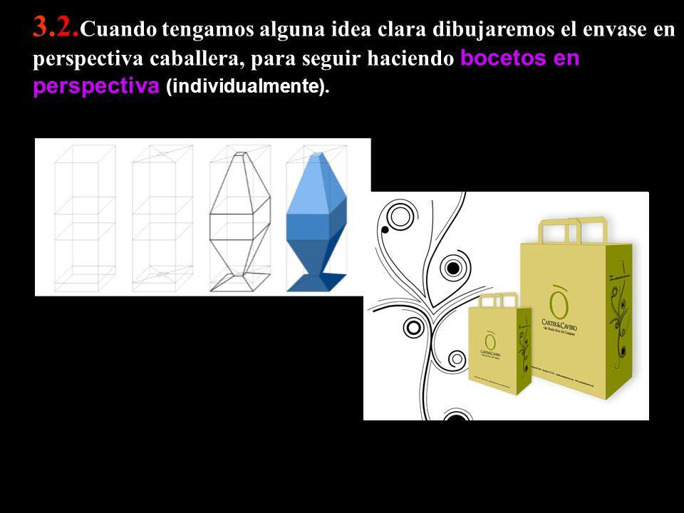 3.2.Cuando tengamos alguna idea clara dibujaremos el envase en perspectiva caballera, para seguir haciendo bocetos en perspectiva (individualmente).