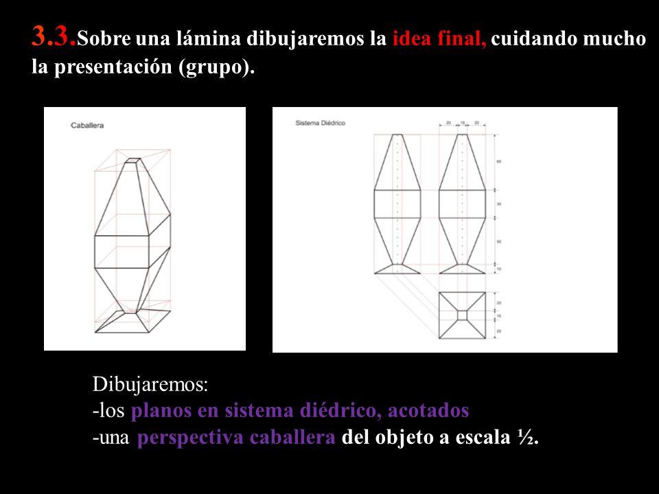 3.3.Sobre una lámina dibujaremos la idea final, cuidando mucho la presentación (grupo).