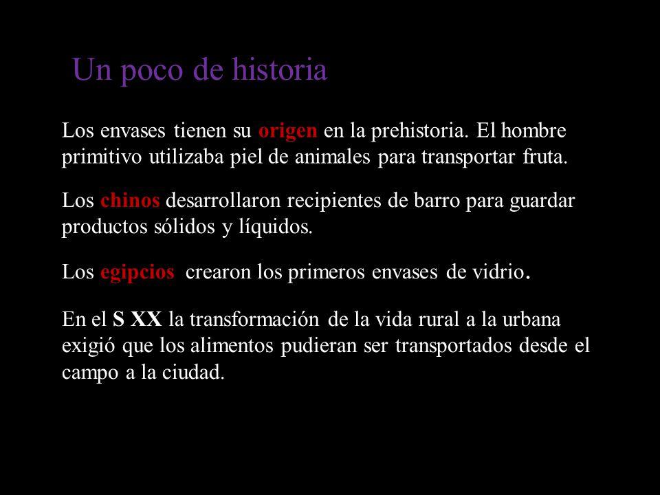 Un poco de historia Los envases tienen su origen en la prehistoria. El hombre primitivo utilizaba piel de animales para transportar fruta.