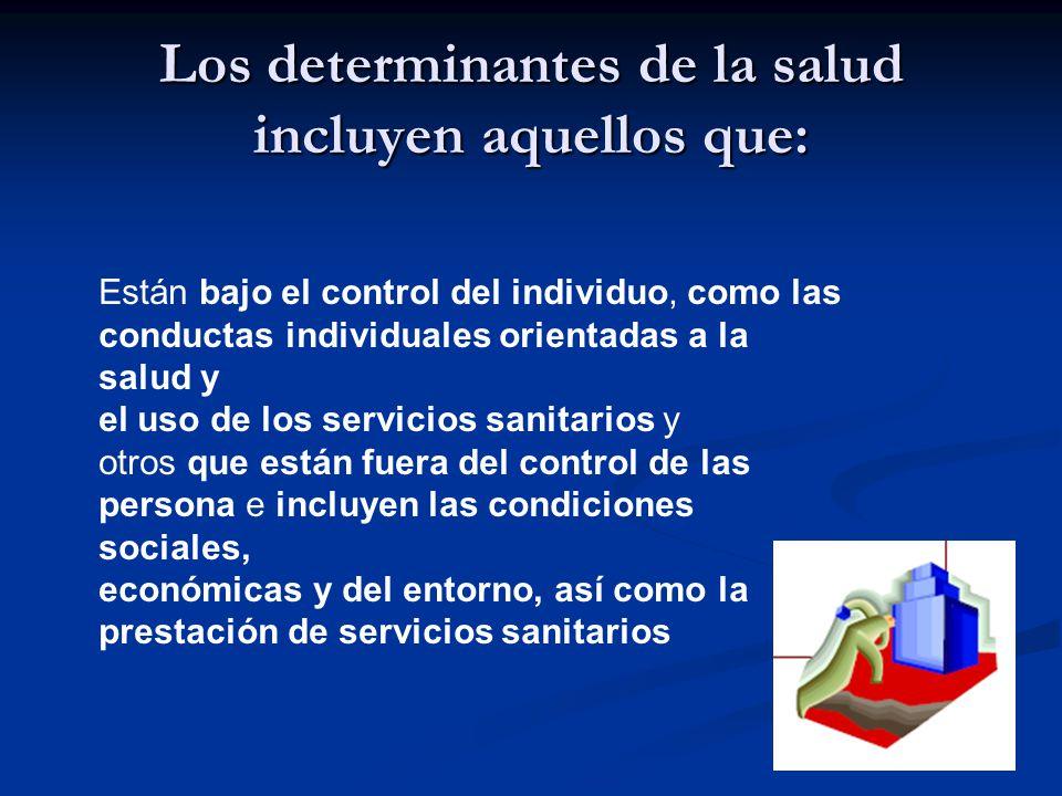 Los determinantes de la salud incluyen aquellos que: