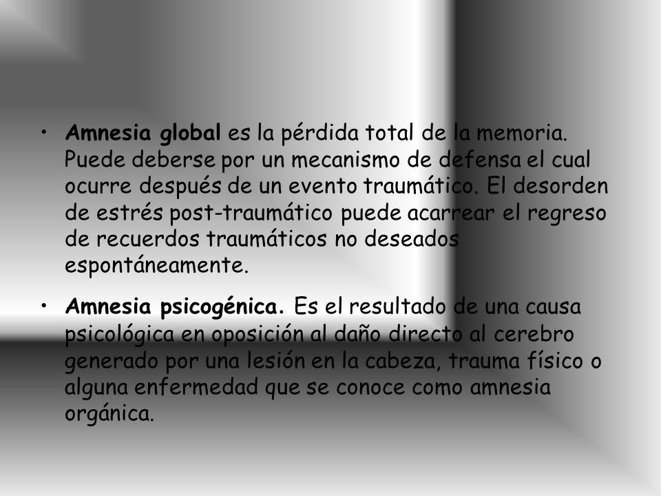 Amnesia global es la pérdida total de la memoria