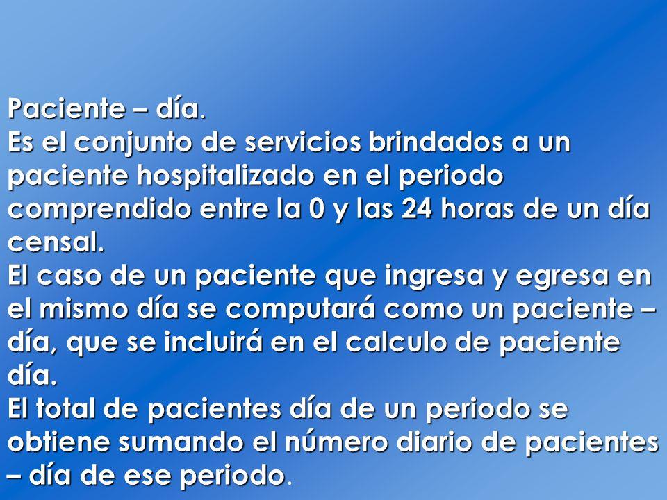 Paciente – día.