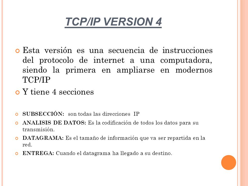 TCP/IP VERSION 4
