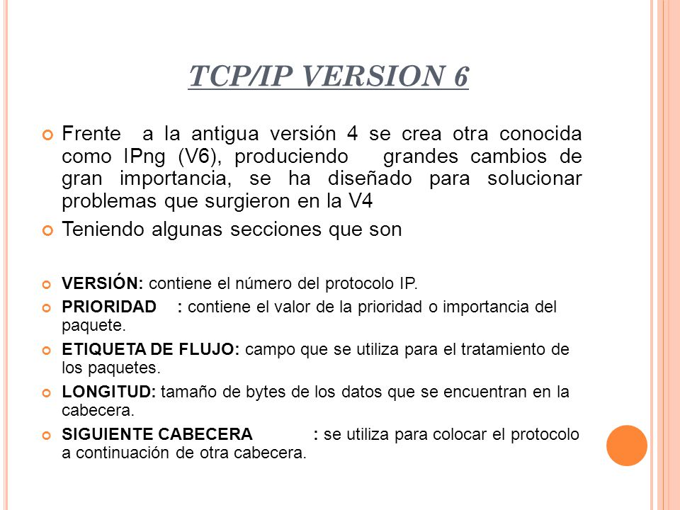 TCP/IP VERSION 6